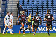 Duhan van der Merwe scores try during the Guinness Pro 14 2017_18 match between Edinburgh Rugby and Glasgow Warriors at Myreside Stadium, Edinburgh, Scotland on 28 April 2018. Picture by Kevin Murray.