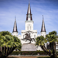 Picture of St. Louis Cathedral in New Orleans with General Andrew Jackson statue. The Cathedral-Basilica of St. Louis King of France is located in Jackson Square and was completed in 1794.