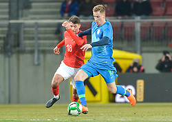 Birsa Valter of Slovenia and Alessandro Schoepf of Austria during friendly football match between National teams of Austria and Slovenia on March 25, 2018 in Woerthersee Stadion, Klagenfurt, Austria. Photo by Mario Horvat / Sportida