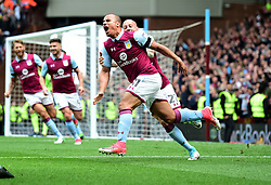 Gabriel Agbonlahor of Aston Villa celebrates his winning goal in front of the Holte End with Alan Hutton of Aston Villa  - Mandatory by-line: Joe Meredith/JMP - 23/04/2017 - FOOTBALL - Villa Park - Birmingham, England - Aston Villa v Birmingham City - Sky Bet Championship