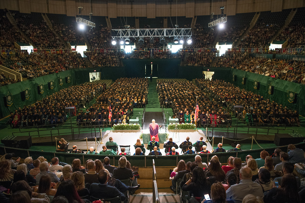 Distinguished Professor Thomas Carpenter delivers the fall commencement address. Photo by Ben Siegeld