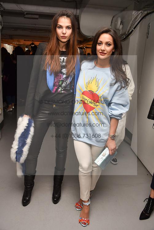 Left to right, Doina Ciobanu and Roxie Nafousi at the Charlotte Simone LFW Autumn Winter 2017 showcase, The Vinyl Factory, 51 Poland Street, London England. 17 February 2017.
