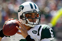 Sept 20, 2009; East Rutherford, NJ, USA;  New York Jets quarterback Mark Sanchez (6) during the first half at Giants Stadium.