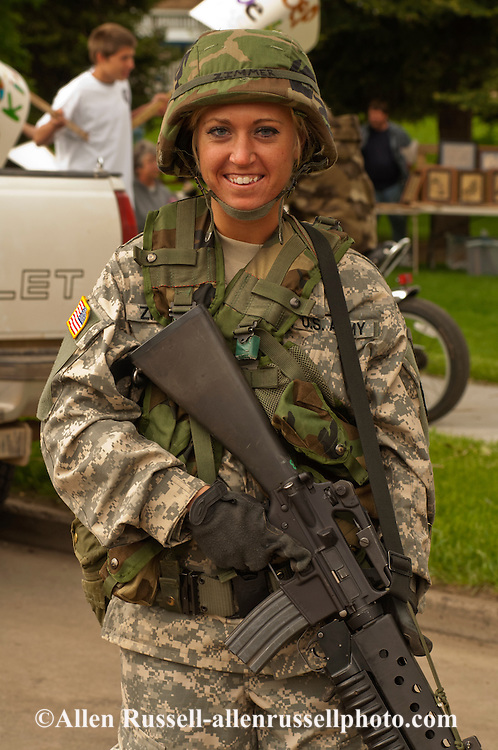 Female army soldier, Miles City Bucking Horse Sale Parade, Montana
