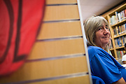 Milpitas Food Pantry Executive Director Karen Kolander listens to the various school challenges and goals during the Jack Emery Drive Brunch at Milpitas High School in Milpitas, California, on November 3, 2015. (Stan Olszewski/SOSKIphoto)