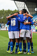Carlisle Celebrate second goal during the Sky Bet League 2 match between Carlisle United and Dagenham and Redbridge at Brunton Park, Carlisle, England on 12 September 2015. Photo by Craig McAllister.