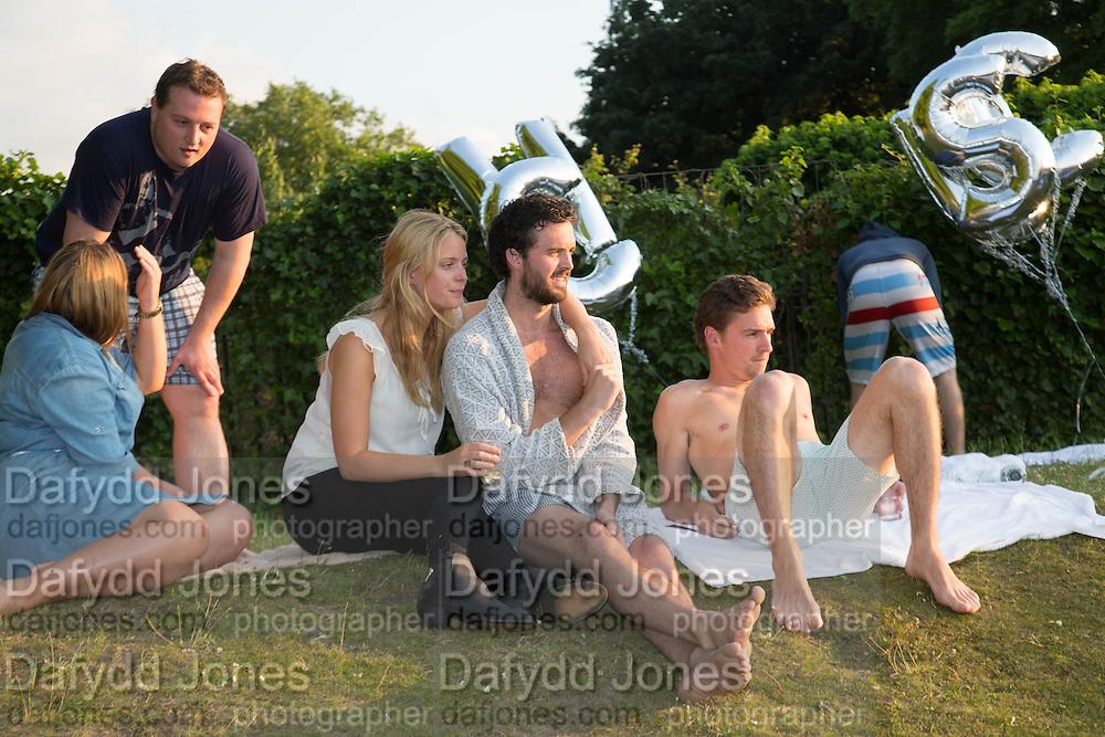 ISABEL BRADSHAW; ALASTAIR LANKESTER; MAX BACCANELLO,  CHARLES FINCH'S CHUCS SWIMATHON 2013, SERPENTINE, Hyde Park, London. 4 July 2013.