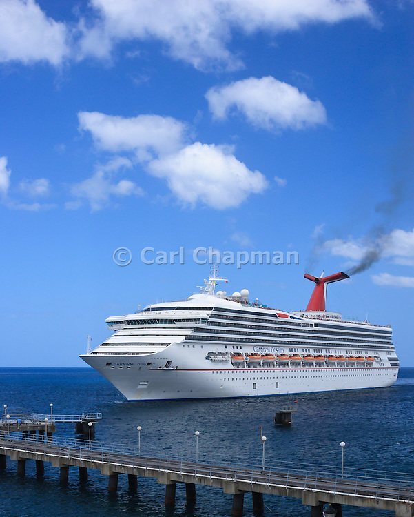 Carnival Destiny Cruise Ship docking in Roseau, Dominica