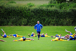 Bristol Rovers' manager overlooks the warm up - Photo mandatory by-line: Dougie Allward/JMP - Tel: Mobile: 07966 386802 24/06/2013 - SPORT - FOOTBALL - Bristol -  Bristol Rovers - Pre Season Training - Npower League Two