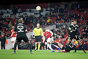 Arsenal's Ainsley Maitland-Niles (15) with an early second half shot during the Europa League group stage match between Arsenal and FK QARABAG at the Emirates Stadium, London, England on 13 December 2018.