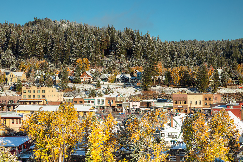 """Downtown Truckee 40"" - Photograph of Historic Downtown Truckee with Fall colors and a little fresh snow."