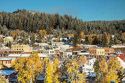 """""""Downtown Truckee 40"""" - Photograph of Historic Downtown Truckee with Fall colors and a little fresh snow."""