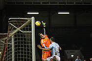 Picture by David Horn/Focus Images Ltd +44 7545 970036.15/01/2013.Dean Cox (not pictured) of Leyton Orient scores the equaliser as Eldin Jakupovic (left)  and James Chester (right) can't prevent the goal during the The FA Cup match at the Matchroom Stadium, London.
