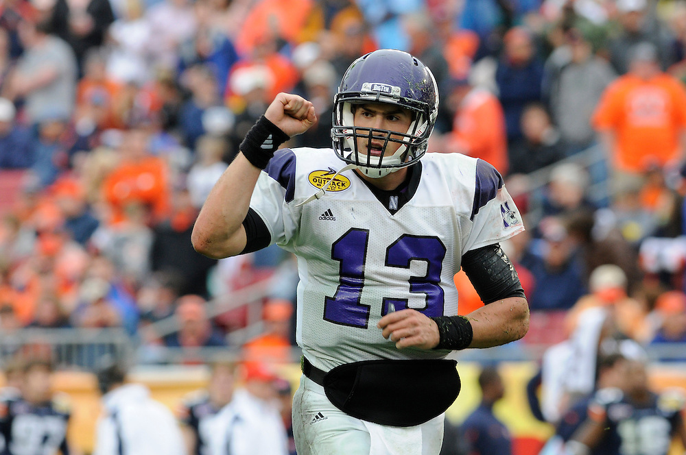 January 1, 2010: Mike Kafka of the Northwestern Wildcats in action during the NCAA football game between the Northwestern Wildcats and the Auburn Tigers in the Outback Bowl. The Tigers defeated the Wildcats 38-35 in overtime.