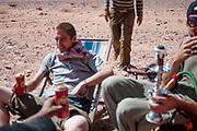 Men drinking at Middle East Tek, Wadi Rum, Jordan, 2008
