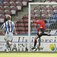 Photo: Aidan Ellis.<br /> Huddersfield Town v Yeovil Town. Coca Cola League 1. 29/04/2006.<br /> Huddersfield keeper Paul Rachubka is betaen for the Yeovil second goal