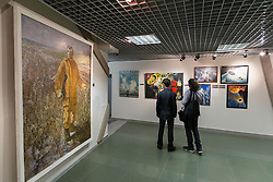 Vistors watch an exhibition about Yuri Gagarin at the Museum of Cosmonautics in Moscow, Russia, April 7, 2016. The Museum of Cosmonautics opens its doors to public on April 10th, 1981, 20th Anniversary of the first manned space flight. Museum exposition gives a retrospect on how space science evolved starting from first man-made satellites subsequently followed by the first manned space flight, first space walks, Moon exploration programs, Solar system exploration programs and international space research programs. EXPA Pictures © 2016, PhotoCredit: EXPA/ Photoshot/ Bai Xueqi<br /> <br /> *****ATTENTION - for AUT, SLO, CRO, SRB, BIH, MAZ, SUI only*****