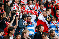 Japan fans celebrate a penalty try for their side - Mandatory byline: Rogan Thomson/JMP - 07966 386802 - 03/10/2015 - RUGBY UNION - Stadium:mk - Milton Keynes, England - Samoa v Japan - Rugby World Cup 2015 Pool B.