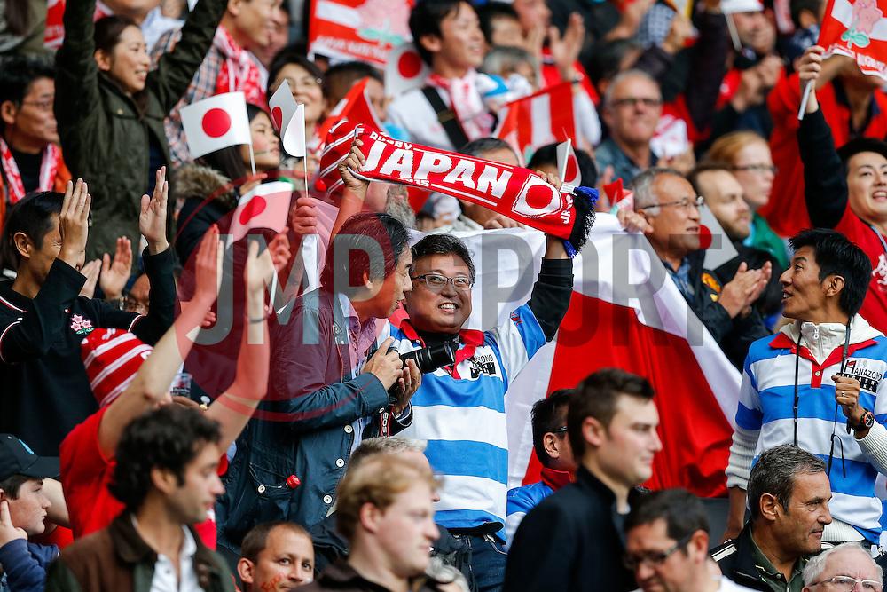 Japan fans celebrate a penalty try for their side - Mandatory byline: Rogan Thomson/JMP - 07966 386802 - 03/10/2015 - RUGBY UNION - Stadium:mk - Milton Keynes, England - Samoa v Japan - Rugby World Cup 2015 Pool B.
