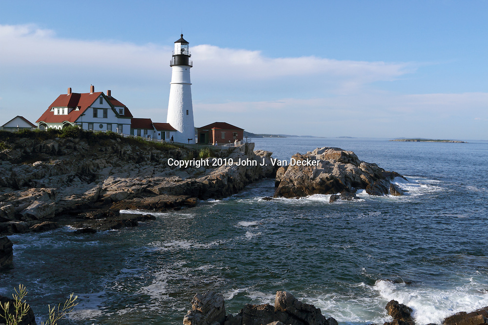 Portland Head Light in Cape Elizabeth, Maine, USA. The lighthouse sits at the southern edge of Casco Bay and is the 2nd oldest lighthouse in the US.