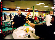 Breakers, the name of the bowling team that Ernie Mosley and Dave King, 48, of Hammond are teammates on competed together with two other members during a league competition at Plaza Lanes in Hammond. .Mosley, has been bowling for about eight years and wasn't very happy about his ability during the game that evening.