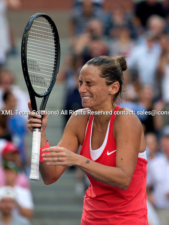 September 11, 2015<br /> Roberta Vinci of Italy reacts after defeating Serena Williams in the women's singles semi-final at the US Open, played at the Billie Jean King Tennis Center, Flushing Meadow NY.