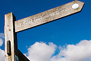 Annandale Way,  Lochmaben, Annandale way walk signpost against blue sky and white clouds.