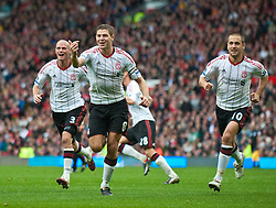 19.09.2010, Old Trafford, Manchester, ENG, PL, Manchester United vs Liverpool FC, im Bild Liverpool's captain Steven Gerrard MBE celebrates scoring his, and side's second goal against Manchester United during the Premiership match at Old Trafford, EXPA Pictures © 2010, PhotoCredit: EXPA/ Propaganda/ D. Rawcliffe *** ATTENTION *** UK OUT! / SPORTIDA PHOTO AGENCY