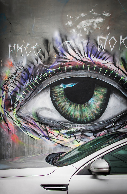 Eyeball painted on a wall in Miami's Wywood Arts District.