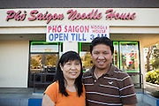 Owner Kevin Tran poses with his wife, May Tran, outside Pho Saigon Noodle House in Milpitas, Calif., on Sept. 19, 2012.  Pho Saigon Noodle House was awarded Milpitas' Best Bowl of Pho for 2012.  Photo by Stan Olszewski/SOSKIphoto.