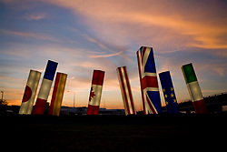 Stock photo of the Light Spikes sculpture at Houston's Intercontinental Airport at sunset