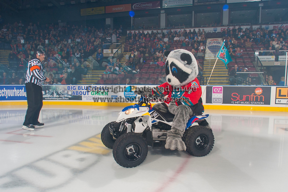KELOWNA, CANADA - SEPTEMBER 21: Rocky Racoon, the mascot of the Kelowna Rockets enters the ice during the regular season home opener against the Kamloops Blazers at the Kelowna Rockets on September 21, 2013 at Prospera Place in Kelowna, British Columbia, Canada (Photo by Marissa Baecker/Shoot the Breeze) *** Local Caption ***