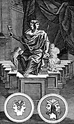 Janus: Two-faced Ancient Roman god, keeper of the gate of heaven. Copperplate engraving 1798.