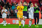Mary Earps (GK) (England) thanking the supporters following the International Friendly match between England Women and Germany Women at Wembley Stadium, London, England on 9 November 2019.