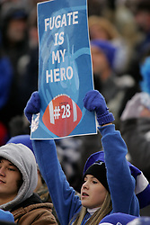 Breathitt County hosted Central in the Class 3A KHSAA Commonwealth Gridiron Bowl on Friday, Dec. 12, 2008, at Papa John's Cardinal Stadium in Louisville, Ky. Katie Rice holds a sign showing support of Breathitt 's Channing Fugate. (photo by Jonathan Palmer)