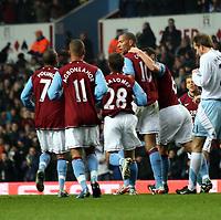 Photo: Mark Stephenson/Sportsbeat Images.<br /> Aston Villa v Manchester City. The FA Barclays Premiership. 22/12/2007.Villa celebrate John Carew ( 2 ed R) goal for 1-1