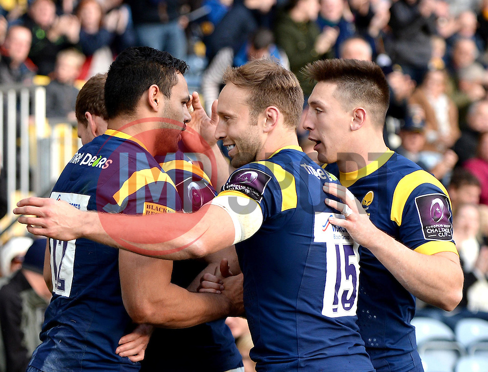 Ben Te'o of Worcester Warriors celebrates with team mates after scoring a try - Mandatory by-line: Dougie Allward/JMP - 22/10/2016 - RUGBY - Sixways Stadium - Worcester, England - Worcester Warriors v Brive - European Challenge Cup