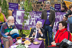 London, October 10 2017. MP Paul Flynn speaks with fellow patients as Medical cannabis users and MP Antonia Antoniazzi (right) as United Patients Alliance gather at Old Palace Yard demanding the decriminalisation of cannabis which they say has proven to be the most successful aid to pain relief, demanding that MPs respect the scientifically proven benefits of THC (tetrahydrocannabinol). © Paul Davey