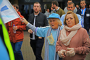 SISU out demonstration pre-match, Jimmy Hill statue, protest, demo, young and old supporters during the EFL Sky Bet League 1 match between Coventry City and Rochdale at the Ricoh Arena, Coventry, England on 22 October 2016. Photo by Daniel Youngs.