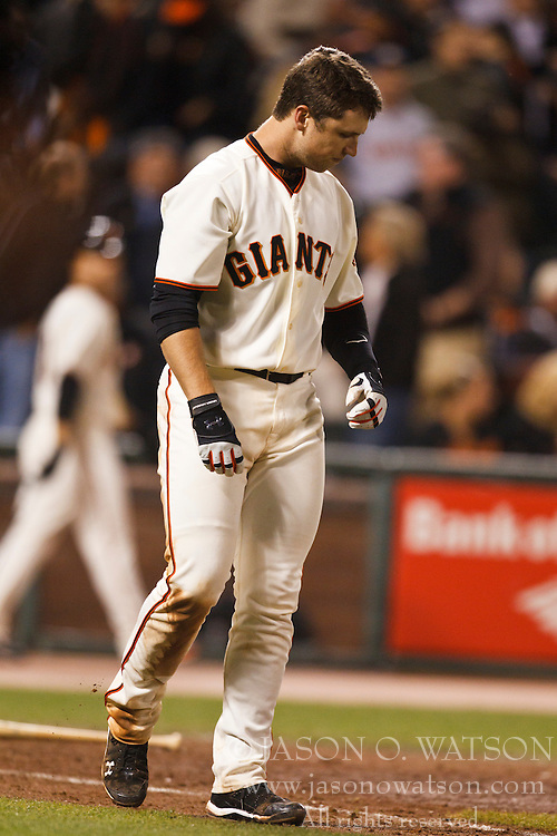 August 30, 2010; San Francisco, CA, USA;  San Francisco Giants catcher Buster Posey (28) reacts after hitting a line drive to end the game against the Colorado Rockies at AT&T Park.  Colorado defeated San Francisco 2-1.