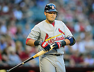 May. 7, 2012; Phoenix, AZ, USA; St. Louis Cardinals catcher Yadier Molina (4) during the game against the Arizona Diamondbacks at Chase Field. The Cardinals defeated the Diamondbacks 9-6. Mandatory Credit: Jennifer Stewart-US PRESSWIRE.