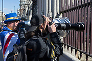 On the day that Prime Minister Theresa May returns to Brussels to negotiate an expected Brexit delay, the pro-EU activist Steve Bray shouts at arriving government ministers through his megaphone through the gates of parliament in Westminster, in London, England.