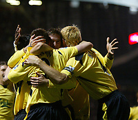 MANCHESTER, ENGLAND - MONDAY SEPTEMBER 20th 2004: Liverpool's players celebrates the goal against  Manchester United during the Premiership match at Old Trafford. (Photo by David Rawcliffe/Propaganda)