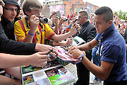Alexis Alejandro Sanchez from Barcelona signs his autographs after press conference in The Polish Baltic Fr&eacute;d&eacute;ric Chopin Philharmonic in Gdansk, Poland.<br /> A few hours before friendly match between Lechia Gdansk and FC Barcelona.<br /> <br /> Poland, Gdansk, July 30, 2013<br /> <br /> Picture also available in RAW (NEF) or TIFF format on special request.<br /> <br /> For editorial use only. Any commercial or promotional use requires permission.<br /> <br /> Photo by &copy; Adam Nurkiewicz / Mediasport