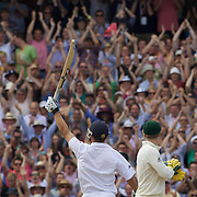 Jonathan Trott celebrates his century on debut during the fifth Ashes test match in London, England, on Saturday, August 22, 2009. Photo Tim Clayton.