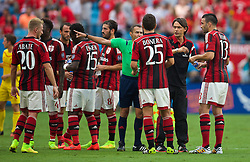 CHARLOTTE, USA - Saturday, August 2, 2014: AC Milan's head coach Filippo Inzaghi is ordered off the pitch by the assistant referee during the International Champions Cup Group B match against Liverpool at the Bank of America Stadium on day thirteen of the club's USA Tour. (Pic by David Rawcliffe/Propaganda)