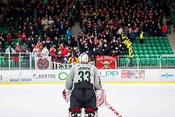 Clarke Saunders of HDD Jesenice during Ice Hockey match between HK SZ Olimpija Ljubljana and HDD Jesenice in Round #24 of Alps Hockey League, on December 22, 2018 in Hala Tivoli, Ljubljana, Slovenia. Photo by Ziga Zupan / Sportida