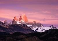 NATIONAL PARK LOS GLACIARES, ARGENTINA - CIRCA FEBRUARY 2019: Mount Fitz Roy at sunrise close to El Chalten in National Park los Glaciares in Argentina.