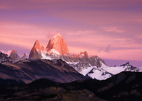 NATIONAL PARK LOS GLACIARES, ARGENTINA - CIRCA FEBRUARY 2019: Mount Fitz Roy at sunrise close to El Chalten in National Park los Glaciares in Argentina.