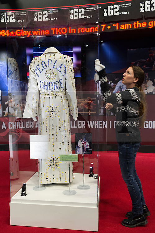 © Licensed to London News Pictures. 03/03/2016. A replica of a gown worn by Muhammad Ali in 1973. The gown features in the I Am The Greatest  - Muhammad Ali Exhibition.. Exhibition featuring more than 100 artefacts from the boxer's career, put together with the help of the Ali family, showcased to celebrate the life of the former heavyweight champion giving an insight into one of the sport's most famous personalities. London, UK. Photo credit: Ray Tang/LNP